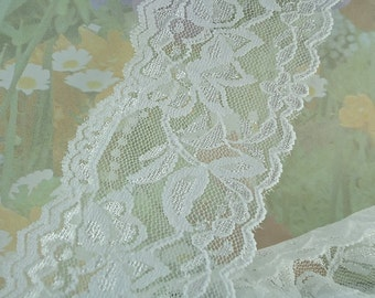 3yd Stretch Lace 2 .25 inch wide White Wedding Lace Elastic Ribbon Floral Design Trim Stretch Lace Headbands Elastic Lace by the yard