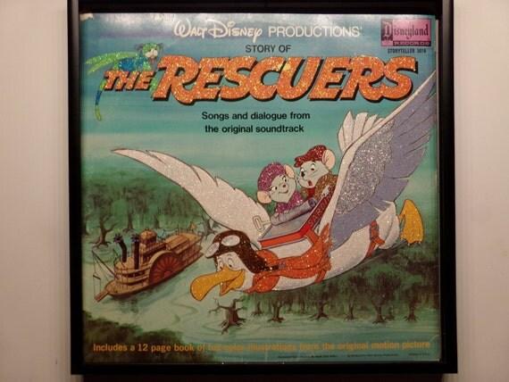 Glittered Record Album - The Rescuers - Disney