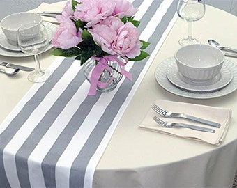 Gray and white stripe table runner