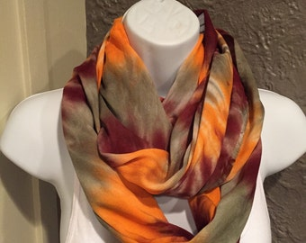 Tye dye scarf, hand dyed rayon infinity scarf, brown, sage and orange sorbet tie dyed infinity scarf, circle scarf