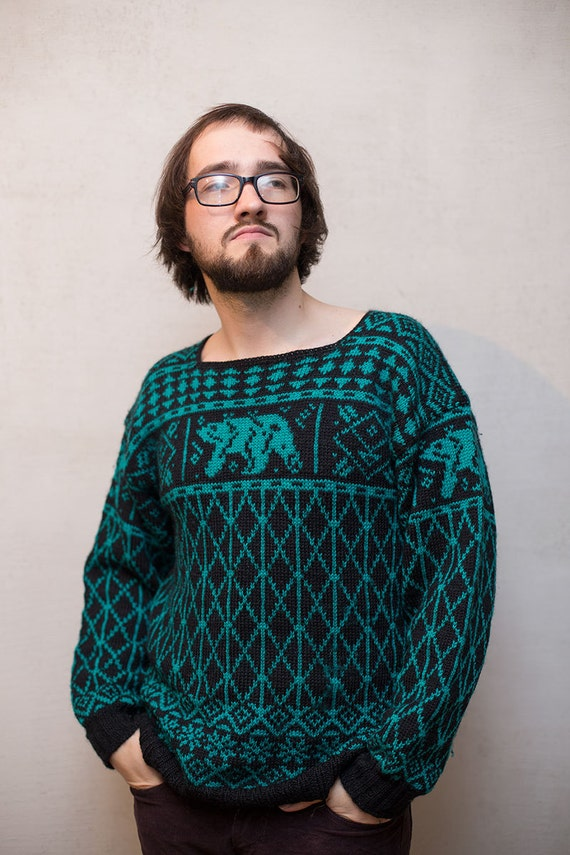 Knitting Patterns For Nordic Sweater : Men wool sweater / Nordic knitted cardigan sweater by ...