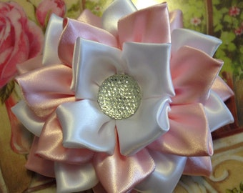 Pink and White Kanzashi Flower Hair Bow/ hair clip