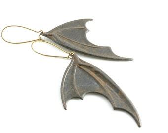 Black Bat Wing Earrings, Dragons Wings Earrings, Neo Victorian Gothic Earrings, Large Vampire  Wing Earrings