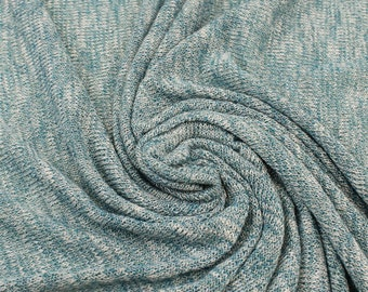Teal Soft and Stretchy Sweater Knit Fabric with Sheen Lurex Yarns - 1 Yard Style 6352