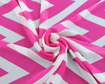 Pink White Chevron Chiffon Fabric - 1 Yard Style 8010