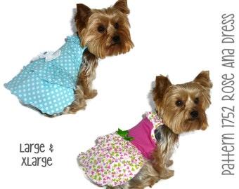 Rose Ana Dog Dress Pattern 1752 * Large & XLarge * Dog Clothes Sewing Pattern * Dog Clothing * Dog Attire * Dog Apparel * Pet Clothing