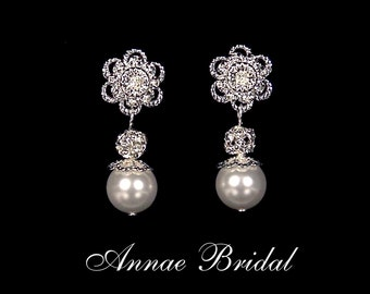 "Bridal flower earrings, wedding jewelry, White pearl and rhinestone flower earrings, Swarovski, silver, ""Winter Wedding"" earrings"