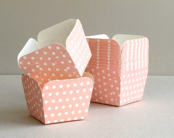 Square Pink Polka Dot Baking Cups (set of 12) - Small paper cups for cupcakes & muffins - Perfect for Weddings and Baby Showers
