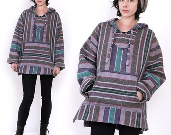 90's Hooded Baja Poncho Drug Rug Vintage Grunge Revival Hippie Jacket Top Oversized M/L