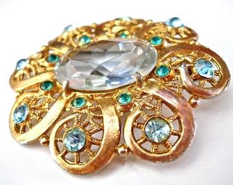 Aqua Blue Glass Brooch, Victorian, Rhinestones, Vintage, Flower Gold tone