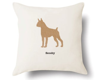 Personalized Boxer Pillow - Off White 100% Cotton - 18x18 -  Name or Text Embroidered - Pet Silhouette - 4 Color Choices