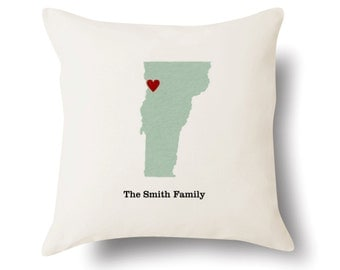 Personalized Vermont Pillow - Text Embroidered - Off White 100% Cotton - 18x18 - Vermont Map Pillow - 4 Color Choices