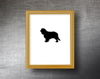 Cavalier King Charles Spaniel Silhouette Art 8x10 - UNFRAMED Hand Cut King Charles Print - Personalized Name or Text Optional