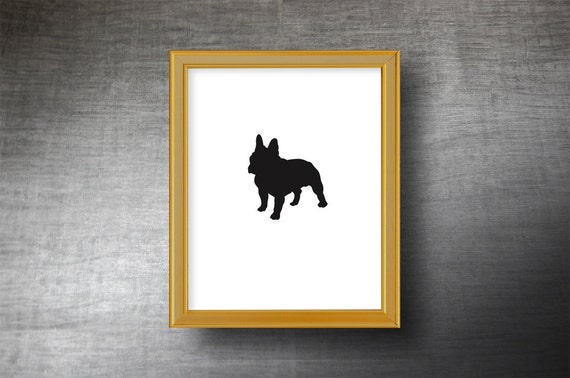 French Bulldog Silhouette Art 8x10 - UNFRAMED Hand Cut French Bulldog Print - Personalized Name or Text Optional