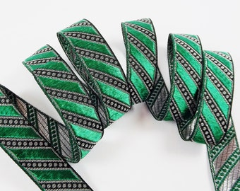 Green Silver Diagonal Stripe Woven Embroidered Jacquard Trim Ribbon - 1 Meter  or 3.3 Feet or 1.09 Yards - Holiday