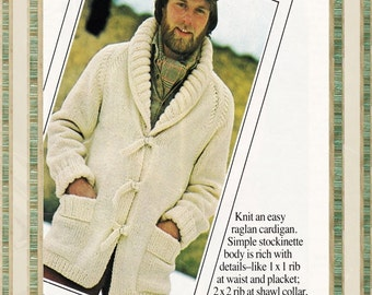 Vintage MENS Sweater Pattern - Shawl Collar Cardigan - Jacket Coat - PDF Instant Download - Knitted Sweater - Mens Patterns Vtg Sweater