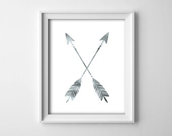 Buy One Get One Free - Art Print - Crossed arrows - Faux silver foil on white  - Office art - Nursery - Minimalist - Child's room - SKU:230