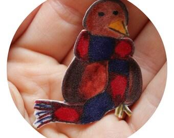 Birds love scarfs Brooch