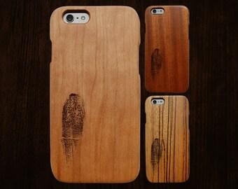 Wood iPhone 6 case. Works with 6/6S/6Plus/6SPlus. Fingerprint engraving. Single-piece body.