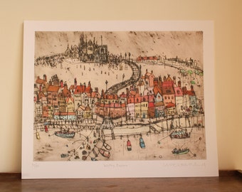 WHITBY HARBOUR PRINT, North Yorkshire Coast England, Coastal Fishing Village, Whitby Abbey Drypoint, Signed Giclee print by Clare Caulfield