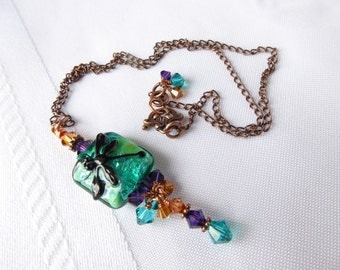 Last of the Summer Dragonflies; Dragonfly Necklace; Teal Necklace