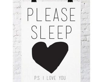 Please Sleep | Monochrome Art Poster