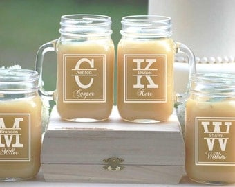 Set of 4, Groomsmen Gift, Personalized Mason Jar Mugs, Wedding Party Gift, Groomsmen Glasses, Wedding Gift, Wedding Party Favors, Groomsman