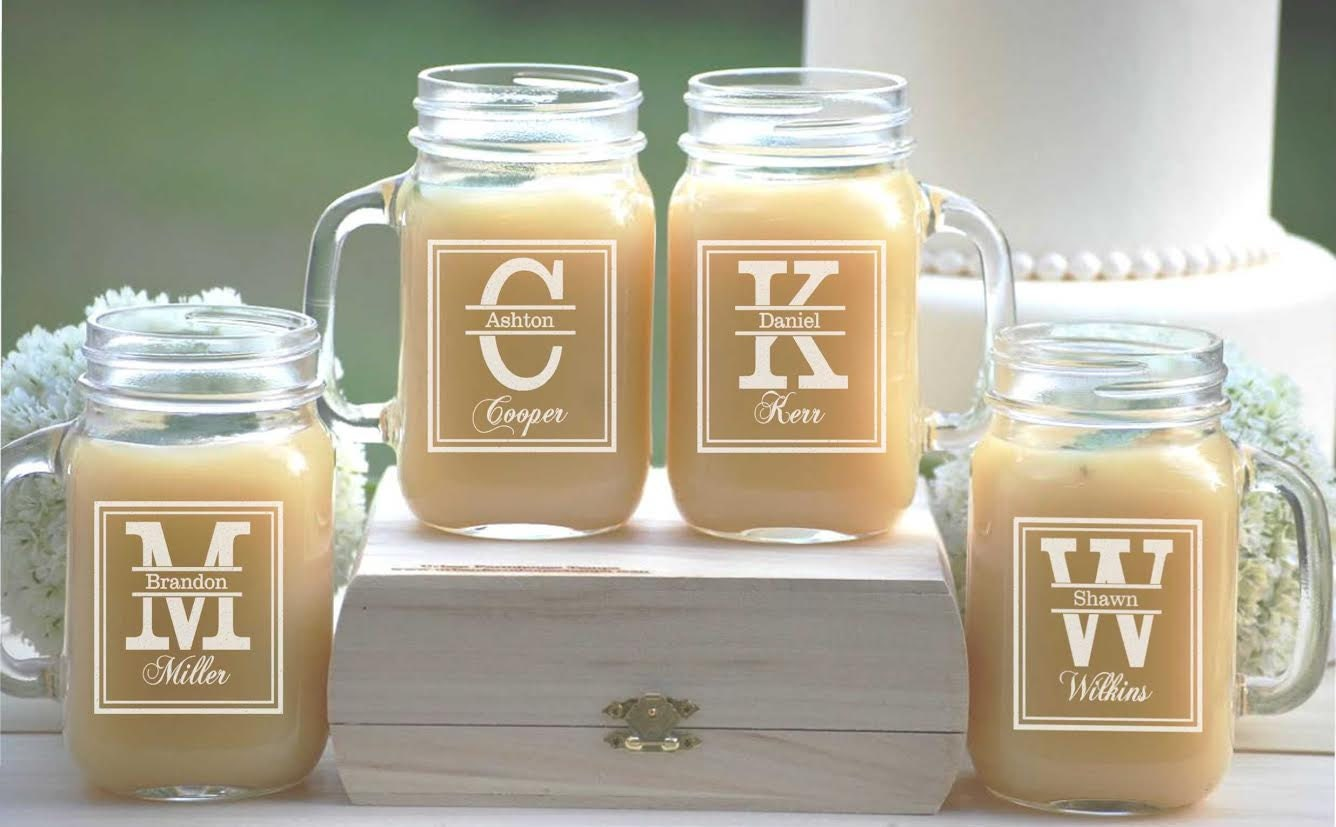Set Of 4 Groomsmen Gift Personalized Mason Jar Mugs Wedding