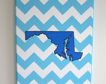hand painted Maryland state outline with chevron background 11X14 canvas, customizable