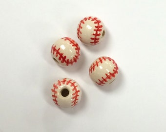 20pc 11mm Ceramic Baseball Sports Beads with Red stitches - Hand Painted DS233