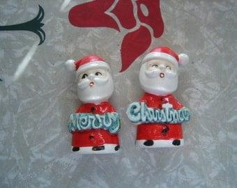 Vintage Merry Christmas Santa Salt and Pepper Shakers Japan