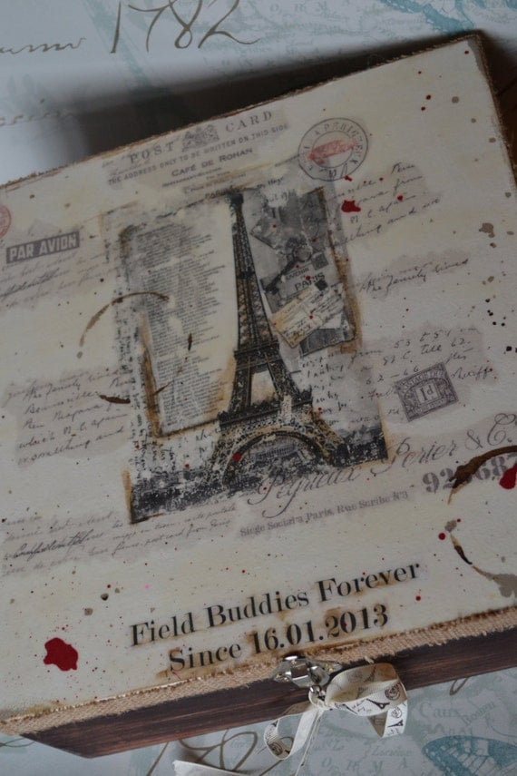 box ''from Paris with love''-Personalized wooden keepsake box, Gift, Anniversary, Special Occasions,