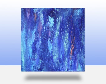 Original Blue Textured Abstract Painting