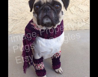 Scarf and legwarmer-clothing for dogs-pugs