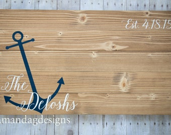 Personalized Nautical Wood Sign Wedding Guest Book - Large Anchor