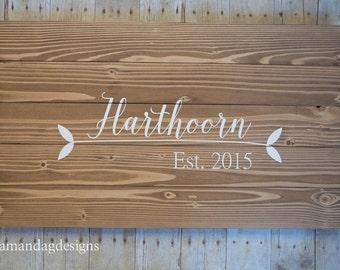 Last Name Anniversary Wedding Gift Wood Sign