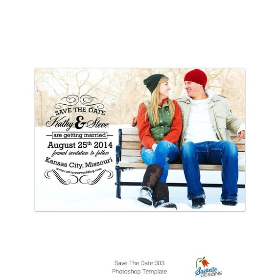 Save The Date Photoshop Template 004