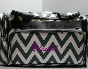 Travel Bag, Gym or Dance Bags - Personalized Chevron Tote/Travel Bags - Great for Girls on the Go!