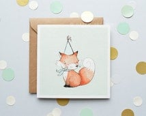 Fox, Children's Card, New baby Card, Mint Colour, Animal, Birthday Card, Unisex Card, 100% Recycled, Greetings Card