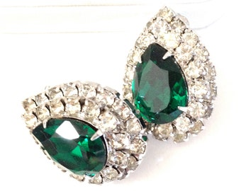 Emerald Green and Ice Crystal Rhinestone Earrings