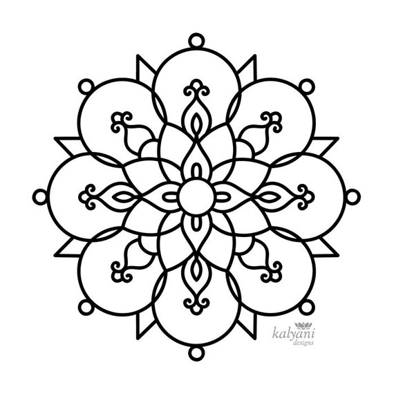 rangoli coloring pages - five rangoli colouring pages printable digital sheets