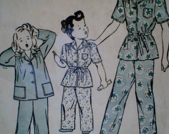 Vintage 1940s Butterick 3948 Girls Two Piece Pajamas Size 2  Epsteam