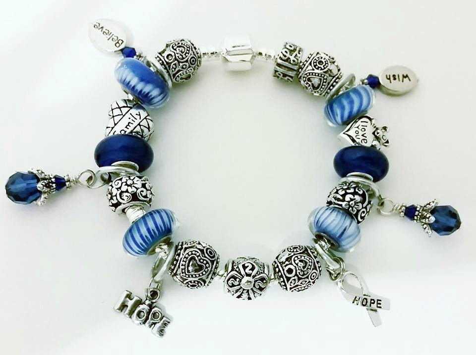 colon cancer awareness charm bracelet by sumabatcreations