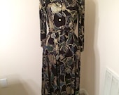 Vintage 80s Black Gold and Dark Green Wide Leg Jumpsuit Pants Suit