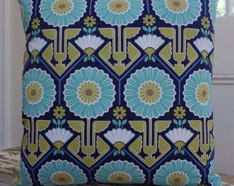 Joel Dewberry Modern Meadow Sunflower square cushion cover/pillow 45cm Blue / Lake