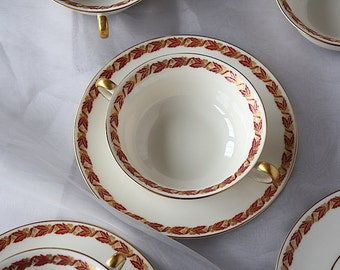 Vintage Soup Bowls with Handles - Vintage Dinnerware - Castleton China - Double Handled Soup Bowls - Bouillon Cups - Bouillon Bowls - Fall