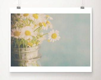 daisy photograph white flower photograph floral print still life photograph pastel home decor white daisy print flower wall art