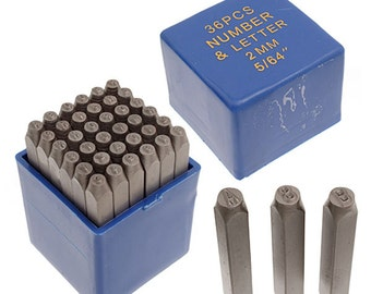 2mm (5/64) Metal Alphabet and Number Stamp Set