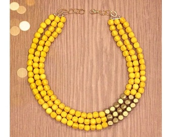 Yellow and Gold Color Block Necklace