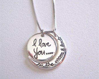 I Love you to the Moon and Back . Moon and Round Charm.